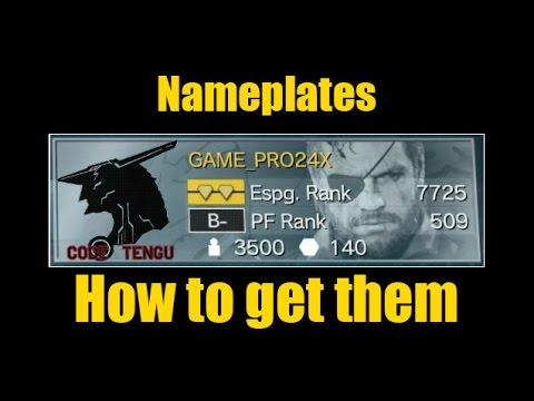 MGSV- Nameplates, How to get them