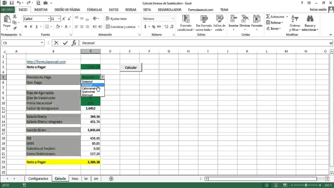 Calculo inverso de sueldo en excel youtube for Calculo nomina semanal excel 2016