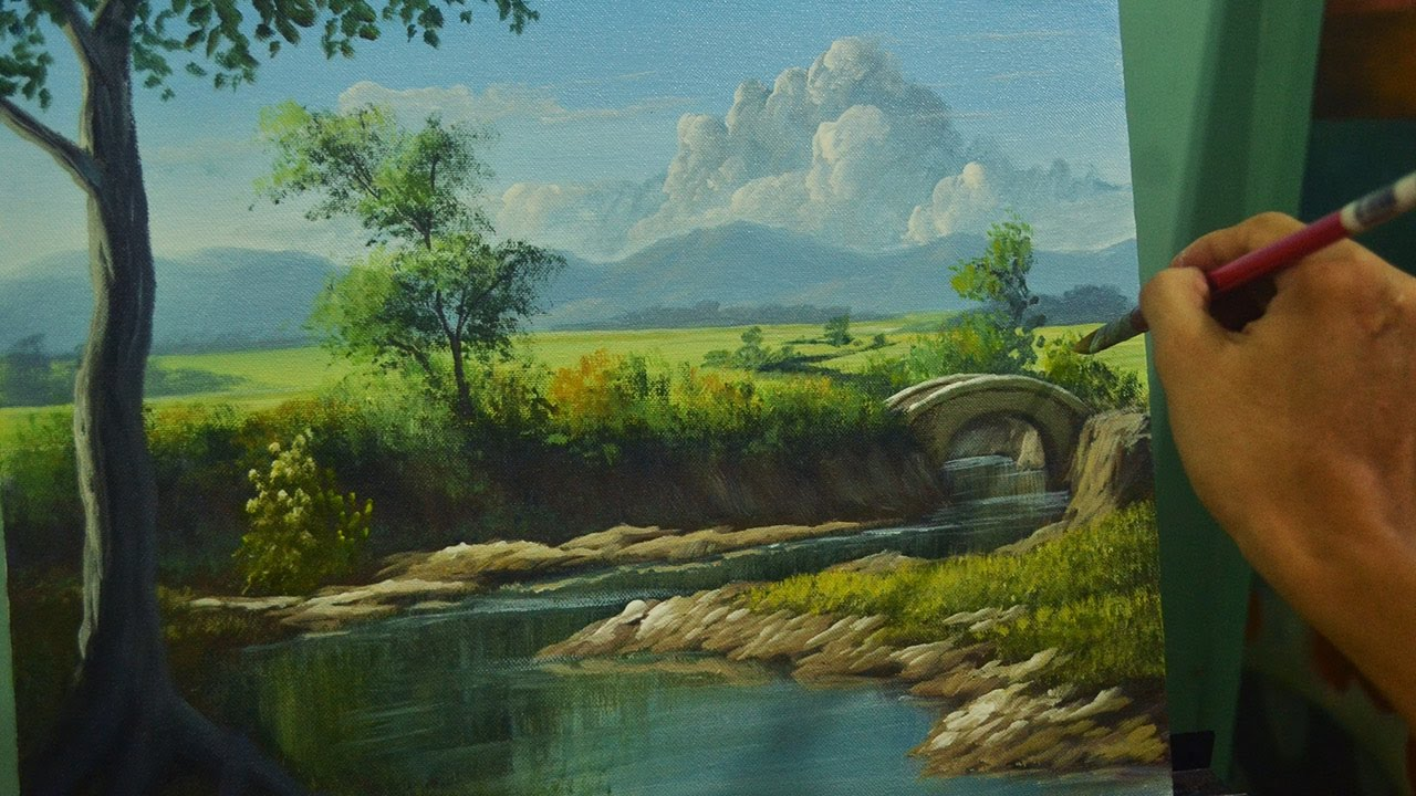 Acrylic Landscape Painting Lesson | River to the Bridge in ...