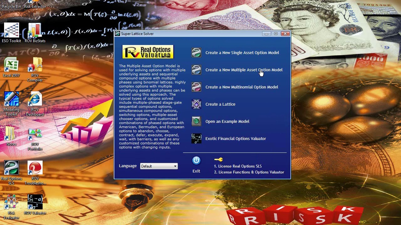 RISK SIMULATOR Real Options Analysis: Basic SLS Software Application