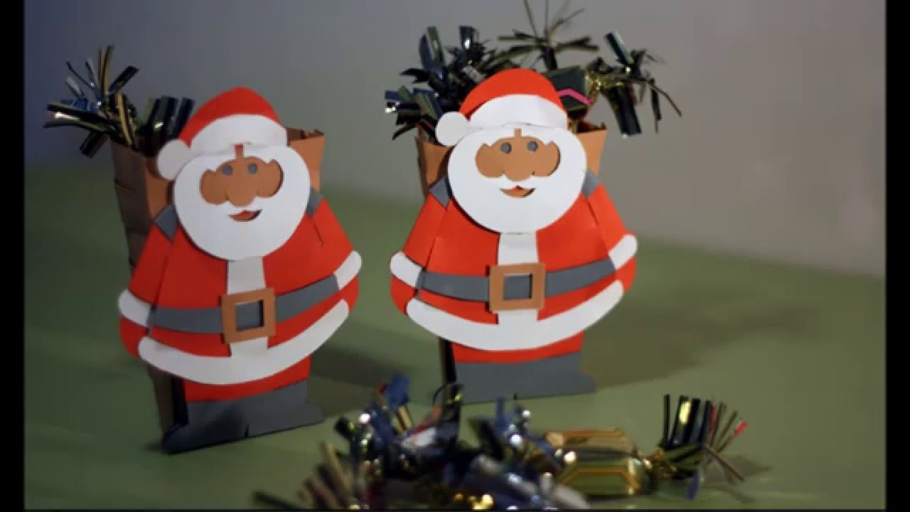 Diy santa claus with his hood all in paper youtube - Fabriquer porte papier toilette ...