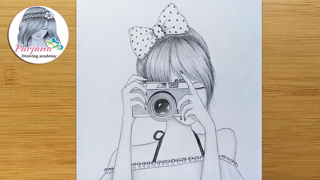 Easy Way to Draw a Girl is holding the camera || pencil sketch || How to draw a girl taking a photo