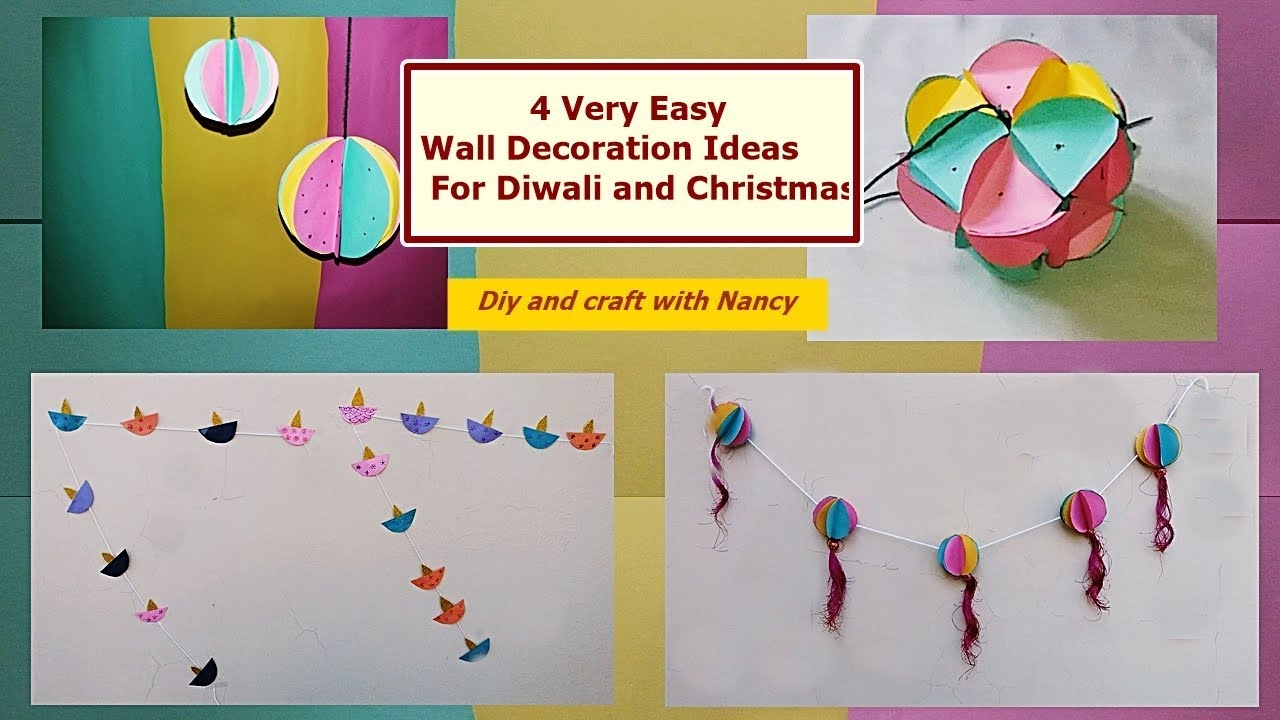 DIY- 4 Very Easy Wall Decoration Ideas For Diwali and Christmas ...