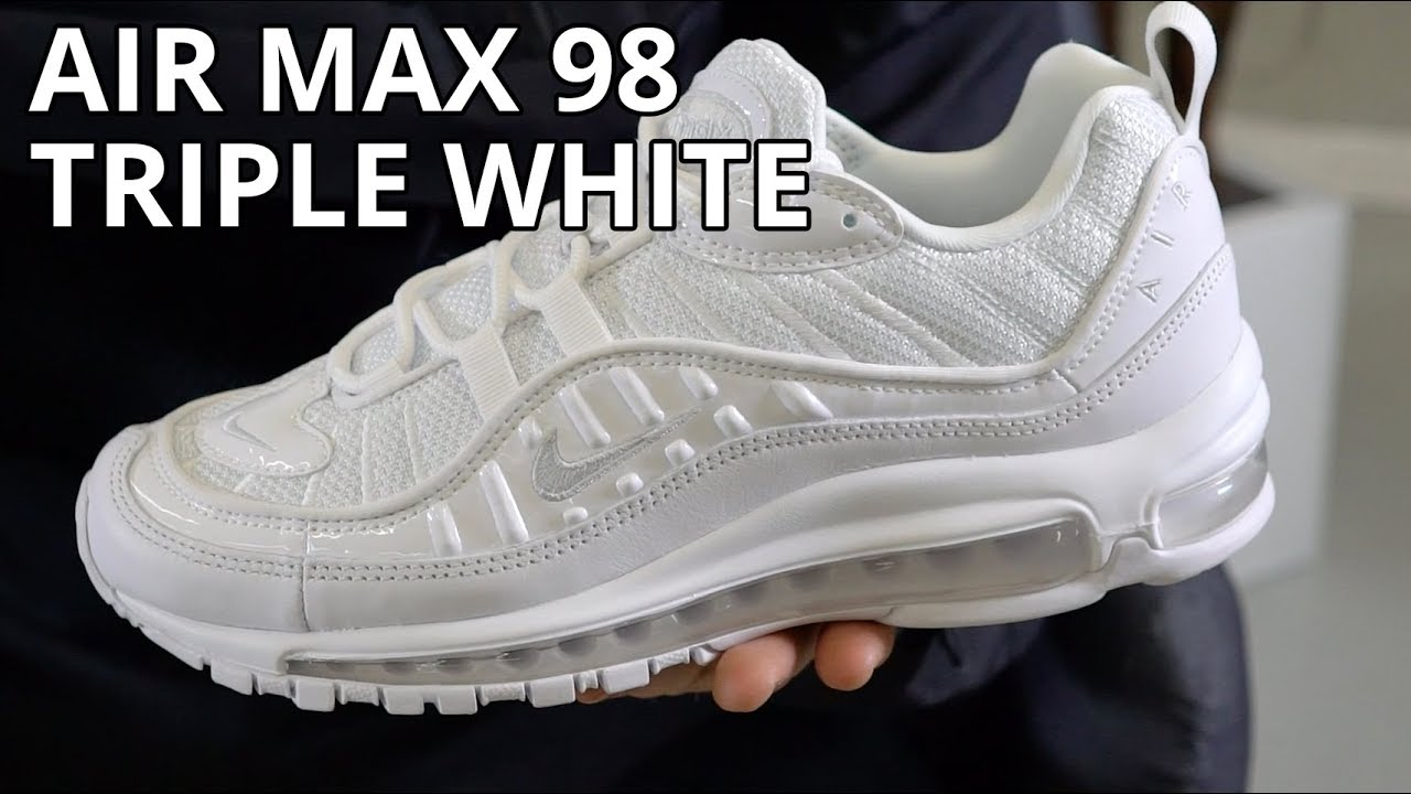 91aded8957 Nike Air Max 98 Triple White Review   Unboxing   On Feet Look - YouTube
