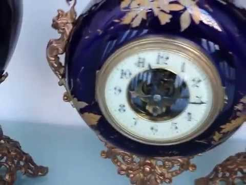 EUGENE FARCOT Antique CARTEL TOP Clock SET Vases Pocelain French Victorian