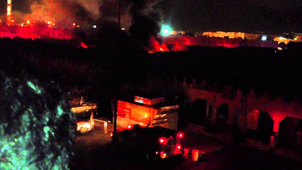 0bc0e7287cd9d حريق في أسواق القرية الشعبية بالرياض رمضان - YouTube