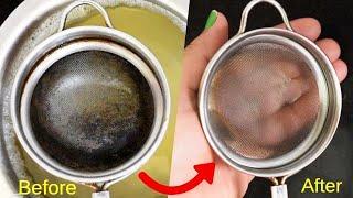 सिर्फ २ मिनट में प्लास्टिक या स्टील की चलनी नए जैसे साफ़ करने का अनोखा तरीका,how to clean Sieve