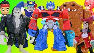 BIG Halloween Adventure with Transformers Optimus Prime, Chase, Owlette, Clayface, Jake & Friends!