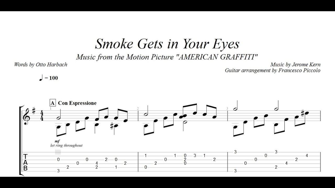 Movie songs for fingerstyle guitar 6 smoke gets in your eyes from american graffiti