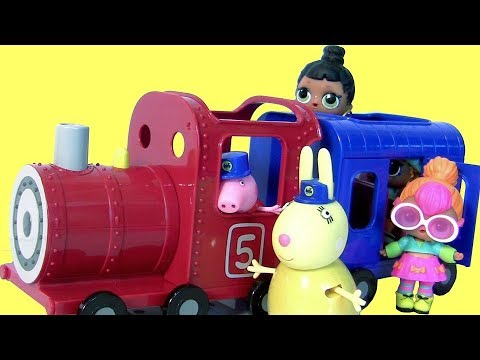 LOL Little Sister Doll Pees Cries Spits on Peppa Pig Choo Choo Train Miss Rabbit's Train & Carriage