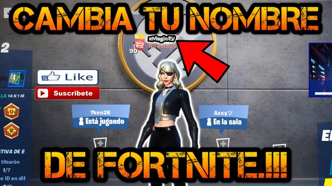 Como Cambiar El Nombre De Fortnite Como Cambiar El Nombre En Fortnite Youtube