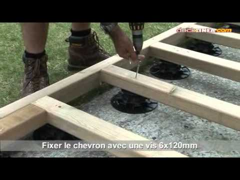 Installation De Terrasse Bois Sur Plots Rglables  Youtube