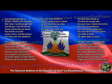 Haiti National Anthem CREOLE Version with music, vocal and lyrics w/English Translation