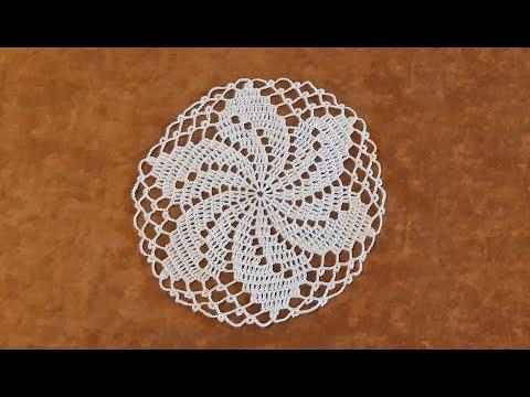 Вязание круглой салфетки крючком видеоурок