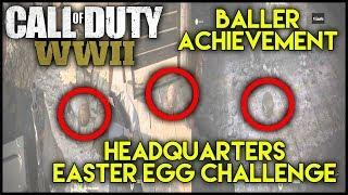 COD WW2 | HQ EASTER EGG! | Hidden 'Baller' Achievement | Headquarters Challenge - Call Of Duty WW2