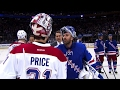 Rangers and Canadiens embrace with their hands after Game 6