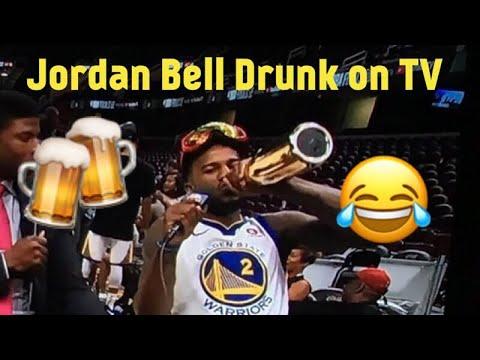 Warriors Jordan Bell drunk on Live TV after Winning NBA Title