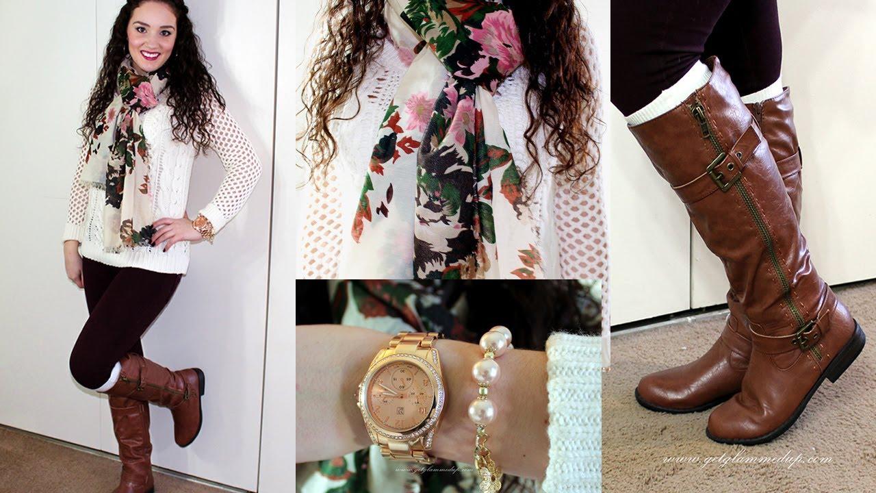 winter ootd burgundy denim floral riding boots youtube. Black Bedroom Furniture Sets. Home Design Ideas
