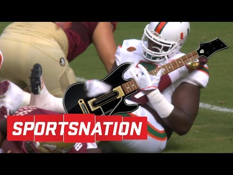 Miami DT plays air guitar on FSU QB's leg after sack | SportsNation | ESPN