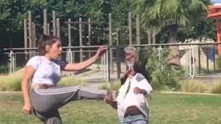 Girl Kicks Sister in Face During Martial Arts Stunt - 993823