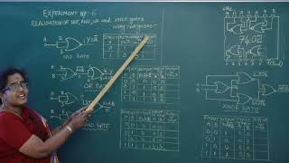 II PUC   Electronics   Practicals -  Realization of NOT, AND, OR and XNOR gates using NOR gates