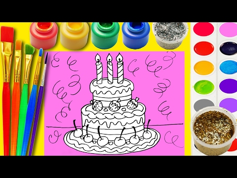Thumbnail: Ice Cream Birthday Cake Coloring Page to Learn Color Paint Draw for Kids with Hand Watercolor