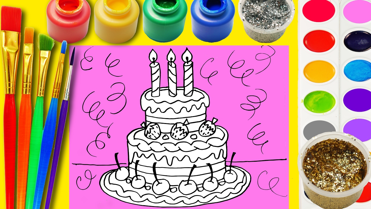 Ice Cream Birthday Cake Coloring Page to Learn Color Paint Draw ...