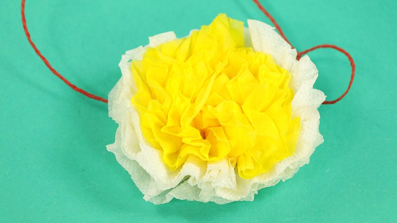 Tissue Paper Flower White Yellow Paper Flower Diy Tutorial Youtube