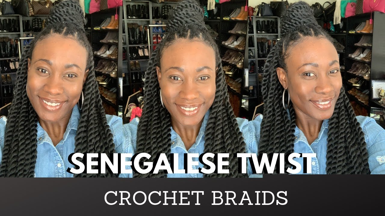 Crotchet Senegalese Twist - Rubber Band Stitch Braid | Half up-Half Down Style