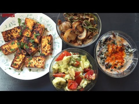 4-easy-vegetarian-keto-snacks-|-caprese---sauteed-mushrooms---creamed-spinach---lemon-pepper-paneer