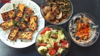 4 Easy Vegetarian Keto Snacks | Caprese - Sauteed Mushrooms - Creamed Spinach - Lemon Pepper Paneer
