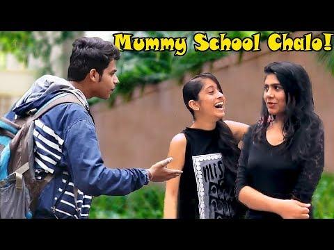 """Mummy Banke School Chalogi?"" Prank On Cute Girls | Pranks In India thumbnail"