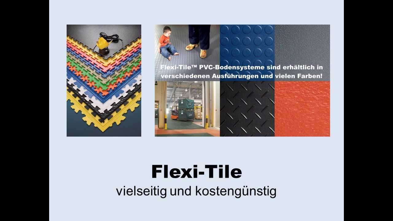 video zu flexi tile pvc bodenbelag f r industrie gewerbe und mehr youtube. Black Bedroom Furniture Sets. Home Design Ideas