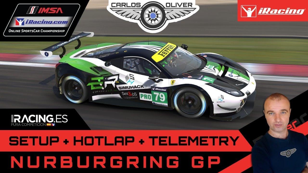 iRacing Hotlap @Nürburgring G P | Ferrari 488GTE | setup+telemetry 1:51,563  Carlos Oliver
