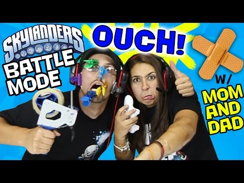 MOM & DAD's OUCH Battle Mode! Chip Clips & Tape Guns Wager! (Skylanders PVP)