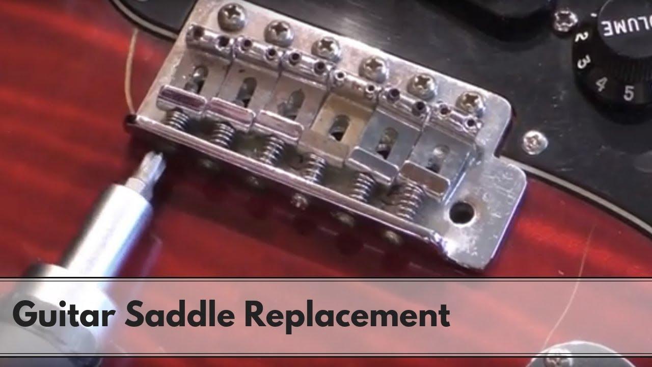 how to replace guitar bridge saddles youtube. Black Bedroom Furniture Sets. Home Design Ideas