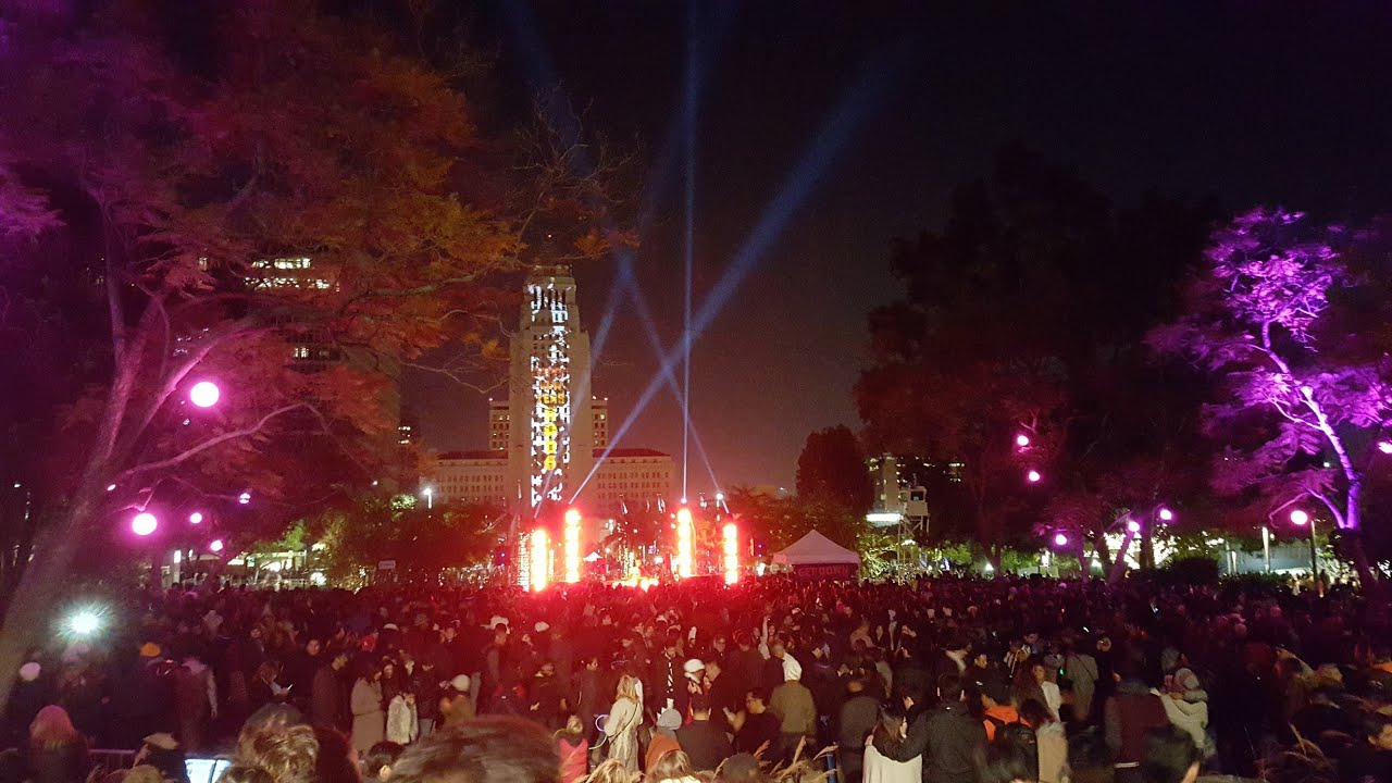 Los Angeles New Year's Eve Party Grand Park 2016 - YouTube