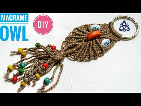 Macrame Owl Key Chain Diy By Macrame Magic Knots Youtube