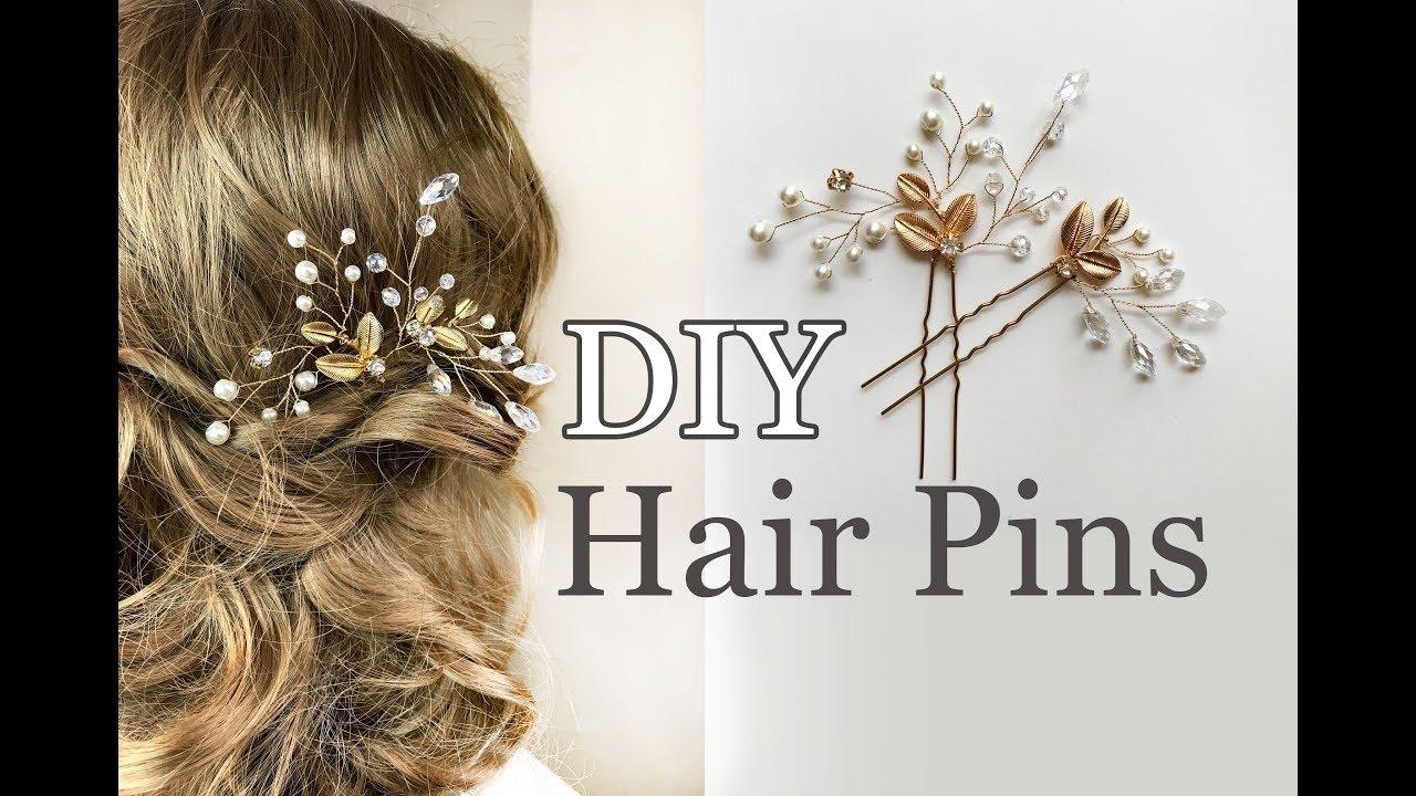 easy diy bridal hair pins with gold leaves - wedding hair comb tutorial