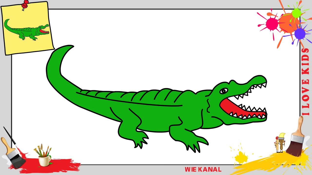 malvorlage krokodil einfache zeichnung  coloring and
