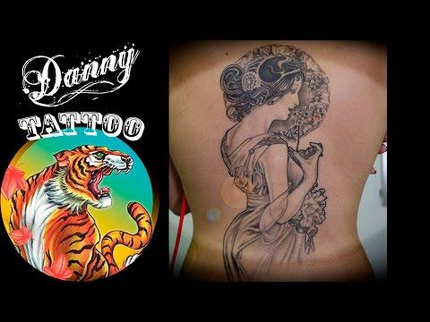 Tattoo - Art Nouveau - Alphonse Mucha - by Danny Tattoo (TimeLapse)