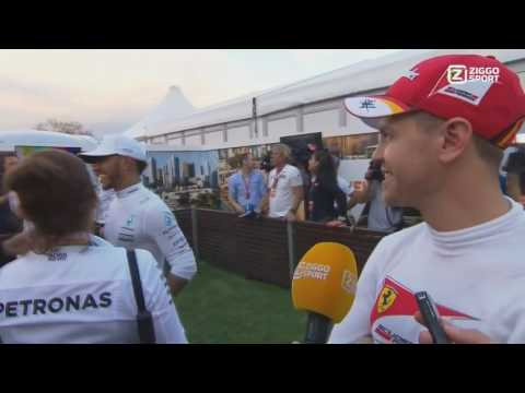 F1 2017 Hamilton confronts Vettel about touching his car funny interview