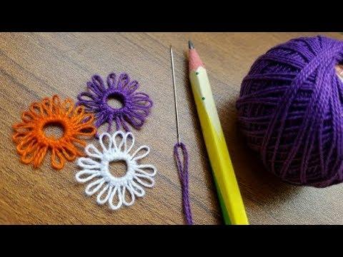 Amazing Trick Using Needle#Easy Flower Making#কুশিকাটার সুতা ও সুঁই দিয়ে ফুল তৈরি