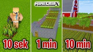Minecraft BUDUJĘ FARMĘ W 10 SEKUND, 1 MINUTĘ I 10 MINUT!