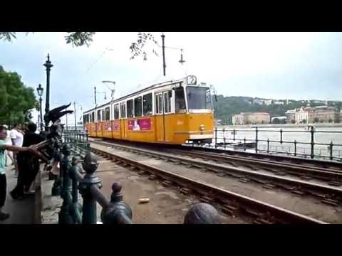 Tramway 2 in Budapest along the Danube