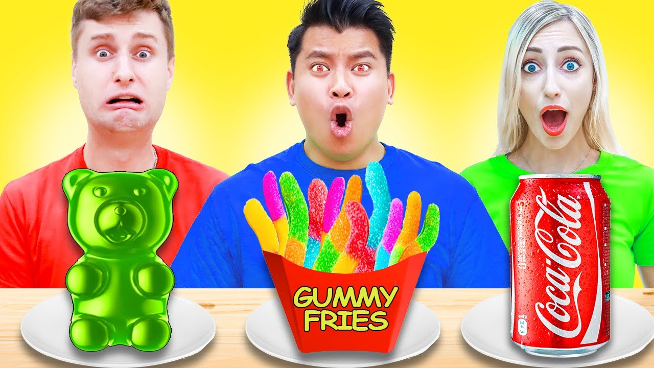 GUMMY FOOD VS REAL FOOD CHALLENGE | EATING CRAZY FOOD FOR 24 HOURS | EDIBLE CANDY & REAL FOOD