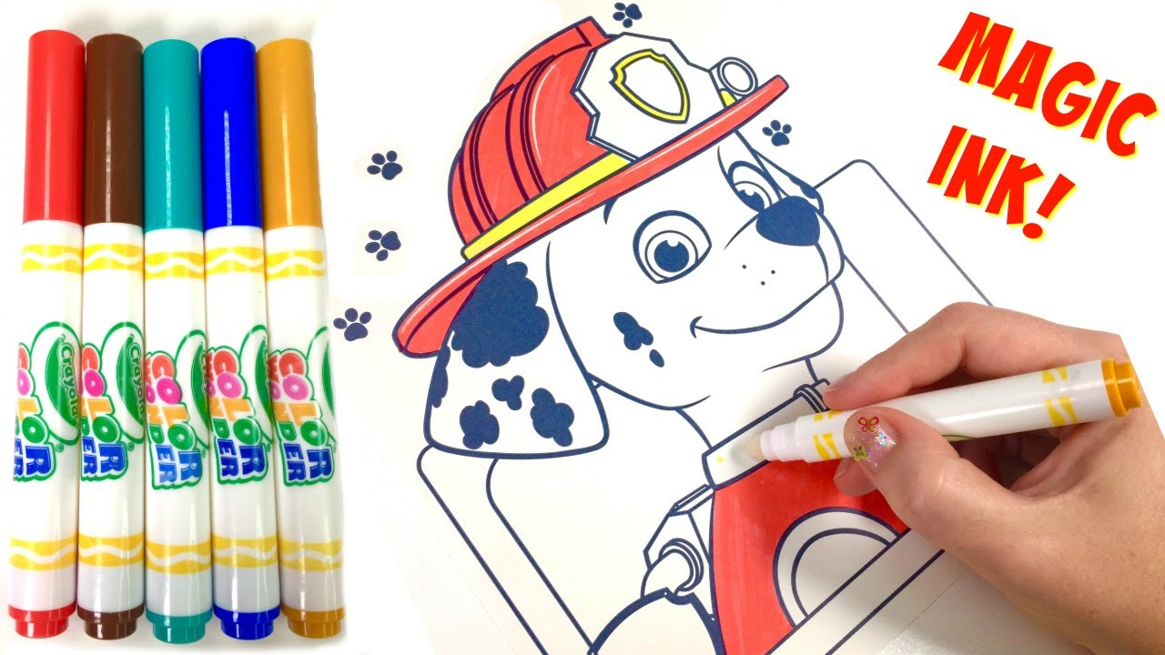 Paw Patrol Marshall Crayola Magic Ink Marker Coloring Book Surprise ...
