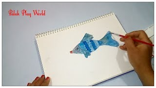 Fish sketch drawing and filling colours # Palak Play World # nursery kids learning video.