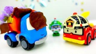 Грузовичок Лева и спасатели Рой и Хэлли из Робокар Поли! Игрушки из мультфильмов спасают друга!