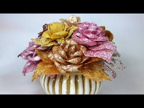 Плетение розы из бисера французское плетение
